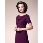 A-line Plus Sizes / Petite Mother of the Bride Dress - Grape Tea-length Short Sleeve Chiffon Mother Of The Bride Dresses