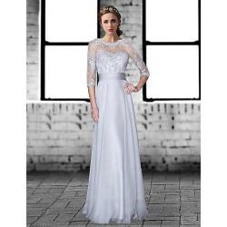 Formal Evening Dress Silver Plus Sizes Petite A Line Jewel Floor Length Chiffon Lace