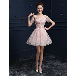 Formal Evening Dress Candy Pink A Line Off The Shoulder Knee Length Lace
