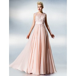 Dress Blushing Pink Plus Sizes Petite A Line Jewel Floor Length Chiffon Lace