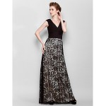 Sheath/Column Plus Sizes / Petite Mother of the Bride Dress - Black Floor-length Sleeveless Lace / Georgette Mother Of The Bride Dresses