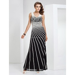 Formal Evening Military Ball Dress Multi Color Plus Sizes Petite Sheath Column V Neck Floor Length Tulle Stretch Satin