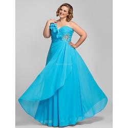 Formal Evening / Prom / Military Ball Dress - Pool Plus Sizes / Petite Sheath/Column One Shoulder Floor-length Chiffon