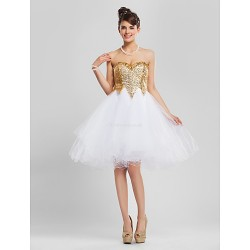 Cocktail Party / Prom / Sweet 16 Dress - Gold Plus Sizes / Petite A-line / Princess / Ball Gown Strapless / Sweetheart