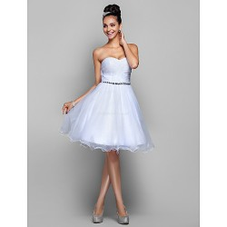 Cocktail Party Prom Holiday Dress White Plus Sizes Petite A Line Princess Sweetheart Knee Length Organza