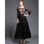 Formal Evening Dress - Black Ball Gown Scoop Ankle-length Tulle / Charmeuse / Sequined Special Occasion Dresses