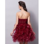 Cocktail Party Dress - Burgundy Plus Sizes / Petite Ball Gown Strapless Short/Mini Tulle Special Occasion Dresses