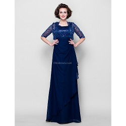 Sheath Column Plus Sizes Petite Mother Of The Bride Dress Dark Navy Floor Length Half Sleeve Chiffon