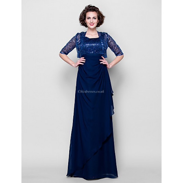Sheath/Column Plus Sizes / Petite Mother of the Bride Dress - Dark Navy Floor-length Half Sleeve Chiffon Mother Of The Bride Dresses