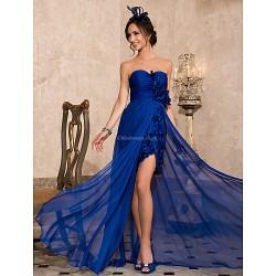 Formal Evening Dress Royal Blue Plus Sizes Petite Sheath Column Sweetheart Strapless Asymmetrical Chiffon