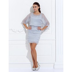 Sheath/Column Plus Sizes / Petite Mother of the Bride Dress - Silver Short/Mini 3/4 Length Sleeve Chiffon