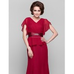 Sheath/Column Plus Sizes / Petite Mother of the Bride Dress - Ruby Tea-length Short Sleeve Chiffon Mother Of The Bride Dresses