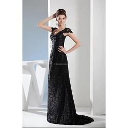 Formal Evening Dress Black A Line V Neck Sweep Brush Train Lace