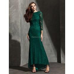 Formal Evening Dress - Dark Green Plus Sizes / Petite Trumpet/Mermaid Bateau Asymmetrical Lace