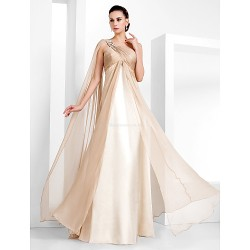 Formal Evening Military Ball Dress Champagne Plus Sizes Petite Sheath Column One Shoulder Floor Length Chiffon