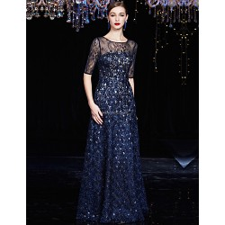 Formal Evening Dress Dark Navy A Line Jewel Floor Length Lace Charmeuse