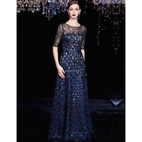 Formal Evening Dress - Dark Navy A-line Jewel Floor-length Lace / Charmeuse Special Occasion Dresses