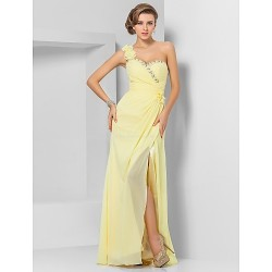 Formal Evening / Prom / Military Ball Dress - Daffodil Plus Sizes / Petite Sheath/Column One Shoulder / Sweetheart Floor-length Chiffon