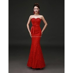 Formal Evening Dress Ruby Plus Sizes Trumpet Mermaid Strapless Floor Length Lace Stretch Satin