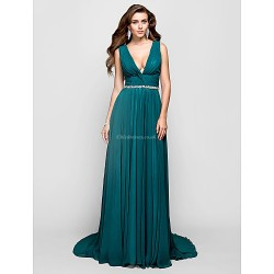 Formal Evening Military Ball Dress Jade Plus Sizes Petite A Line Princess V Neck Sweep Brush Train Chiffon