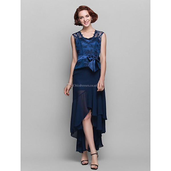 Sheath/Column Plus Sizes / Petite Mother of the Bride Dress - Dark Navy Asymmetrical Sleeveless Chiffon / Lace Mother Of The Bride Dresses