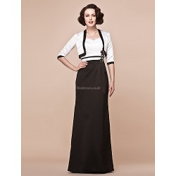 Sheath Column Plus Sizes Petite Mother Of The Bride Dress Multi Color Floor Length Half Sleeve Satin