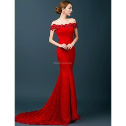 Formal Evening Dress Ruby Trumpet Mermaid Off The Shoulder Chapel Train Lace