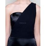 Floor-length Chiffon / Stretch Satin Bridesmaid Dress - Black Plus Sizes / Petite Sheath/Column One Shoulder Special Occasion Dresses