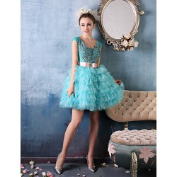 Cocktail Party Dress Jade Petite Ball Gown V Neck Short Mini Lace Organza Charmeuse