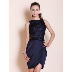 Cocktail Party Wedding Party Dress Dark Navy Plus Sizes Petite Sheath Column Bateau Short Mini Satin Lace