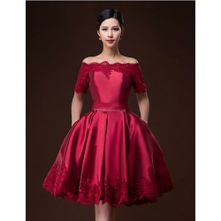 Cocktail Party Dress Ruby Burgundy Ball Gown Bateau Knee Length Satin