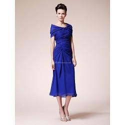 Sheath Column Plus Sizes Petite Mother Of The Bride Dress Royal Blue Tea Length Short Sleeve Chiffon