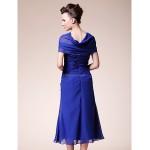 Sheath/Column Plus Sizes / Petite Mother of the Bride Dress - Royal Blue Tea-length Short Sleeve Chiffon Mother Of The Bride Dresses