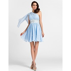 Short/Mini Chiffon Bridesmaid Dress - Sky Blue Plus Sizes / Petite A-line / Princess One Shoulder