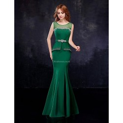 Formal Evening Dress - Dark Green Trumpet/Mermaid Scoop Floor-length Chiffon