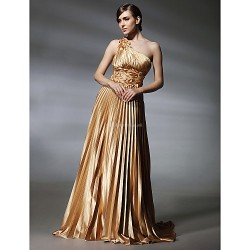 Formal Evening / Military Ball Dress - Gold Plus Sizes / Petite A-line / Princess One Shoulder Sweep/Brush Train Stretch Satin