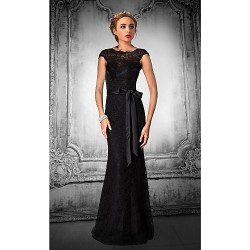 Formal Evening Dress Black Plus Sizes Petite Trumpet Mermaid Jewel Floor Length Lace Tulle