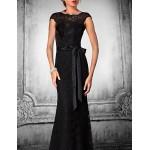 Formal Evening Dress - Black Plus Sizes / Petite Trumpet/Mermaid Jewel Floor-length Lace / Tulle Special Occasion Dresses