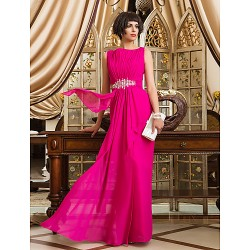Formal Evening / Prom / Military Ball Dress - Fuchsia Plus Sizes / Petite Sheath/Column Bateau Floor-length Chiffon