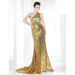 Formal Evening Dress Gold Plus Sizes Petite Trumpet Mermaid One Shoulder Sweep Brush Train Sequined