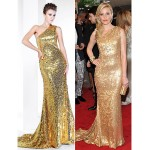 TS Couture Formal Evening Dress - Gold Plus Sizes / Petite Trumpet/Mermaid One Shoulder Sweep/Brush Train Sequined Special Occasion Dresses