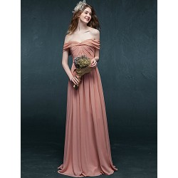Formal Evening Dress Candy Pink A Line Off The Shoulder Floor Length Chiffon