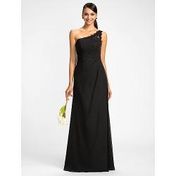 Dress - Black Plus Sizes / Petite Sheath/Column One Shoulder Floor-length Chiffon