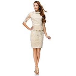 Cocktail Party Dress - Champagne Sheath/Column Bateau Knee-length Lace