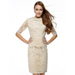 TS Couture Cocktail Party Dress - Champagne Sheath/Column Bateau Knee-length Lace Special Occasion Dresses