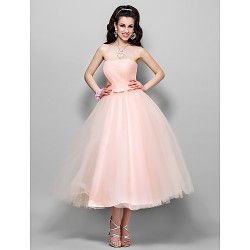 Wedding Party Cocktail Party Dress Pearl Pink Plus Sizes Petite A Line Princess Strapless Tea Length Tulle