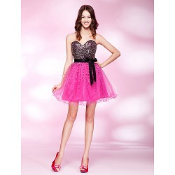 Cocktail Party / Prom / Homecoming Dress - Fuchsia Plus Sizes / Petite A-line / Princess Strapless / Sweetheart Short/MiniStretch Satin /