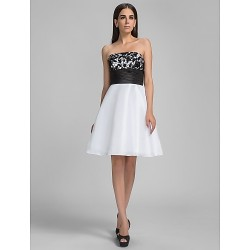 Cocktail Party Graduation Holiday Homecoming Dress White Plus Sizes Petite A Line Strapless Knee Length Taffeta