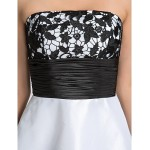 Cocktail Party / Graduation / Holiday / Homecoming Dress - White Plus Sizes / Petite A-line Strapless Knee-length Taffeta Special Occasion Dresses