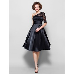 A Line Plus Sizes Petite Mother Of The Bride Dress Black Knee Length Half Sleeve Lace Stretch Satin